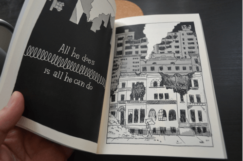 Illustration 3: To draw destroyed buildings, I first started by rendering them intact, then using imagery of Warsaw after World War II to imagine how buildings might crumble. This source material, though, made me rethink what kind of world WDB was living in, and ultimately came to alter the story significantly. What does it take to survive? What does it mean to endure?